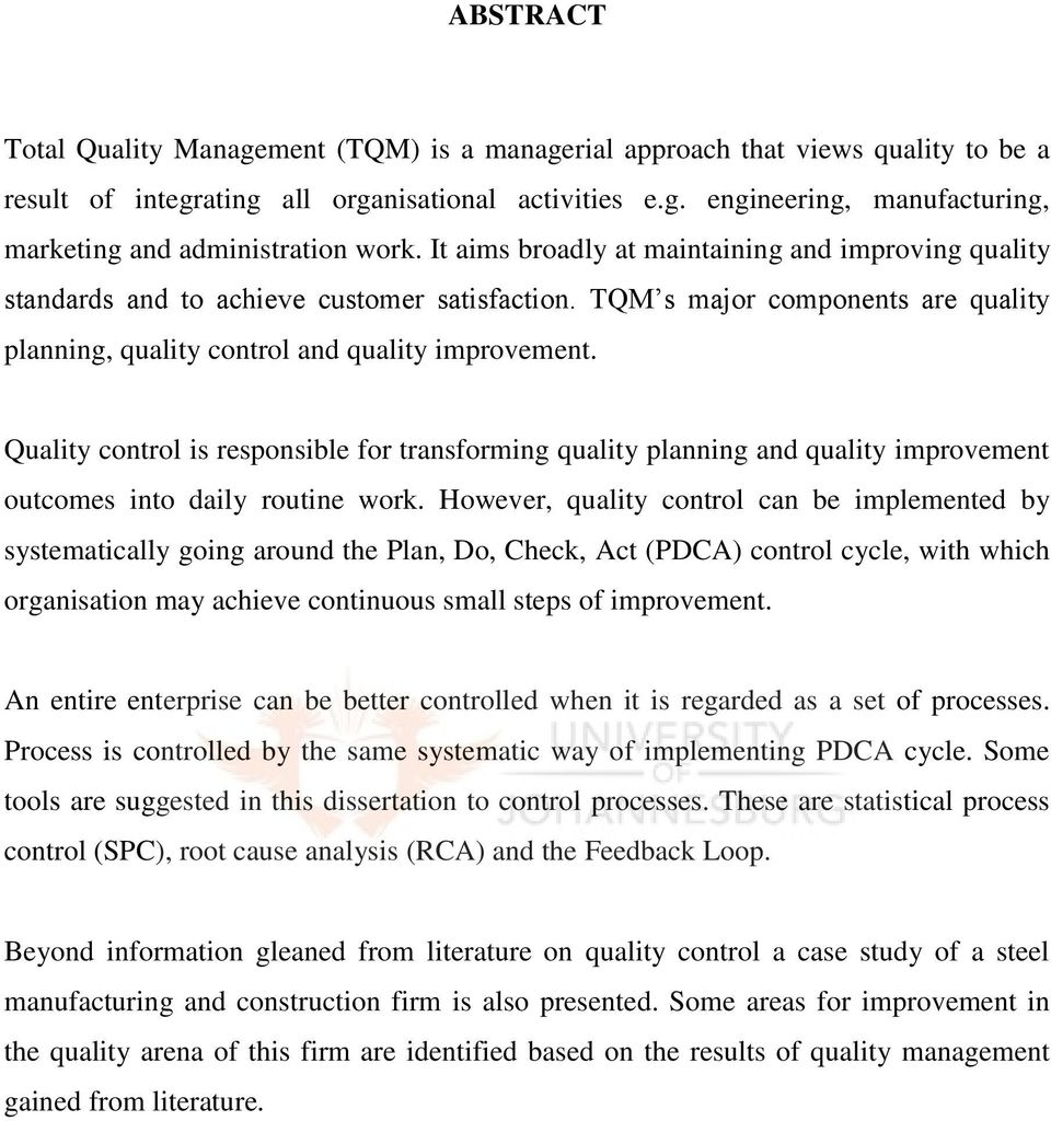 a case study of tqm in a manufacturing and construction firm by ammar al-saket