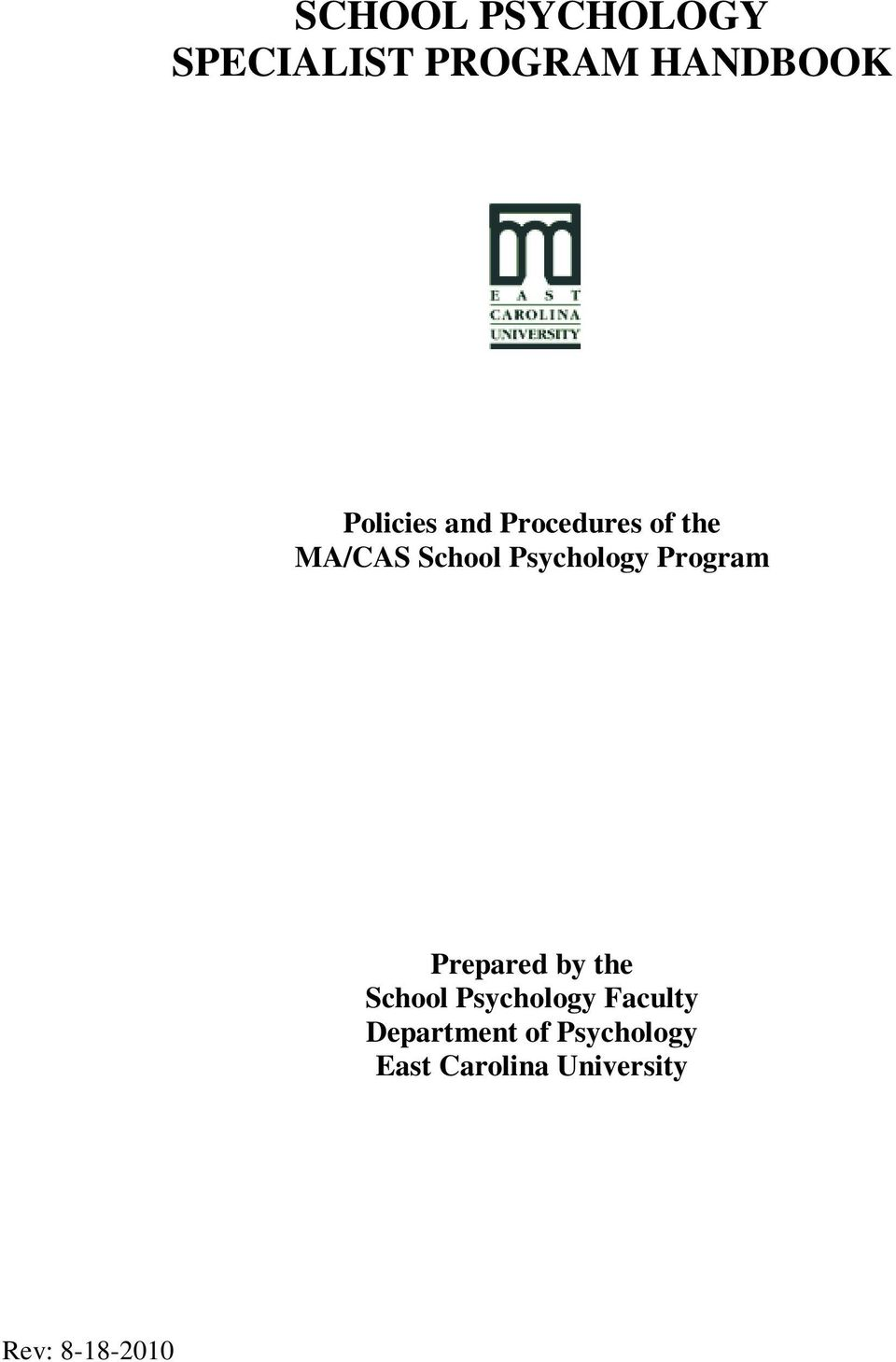 Psychology Program Prepared by the School Psychology