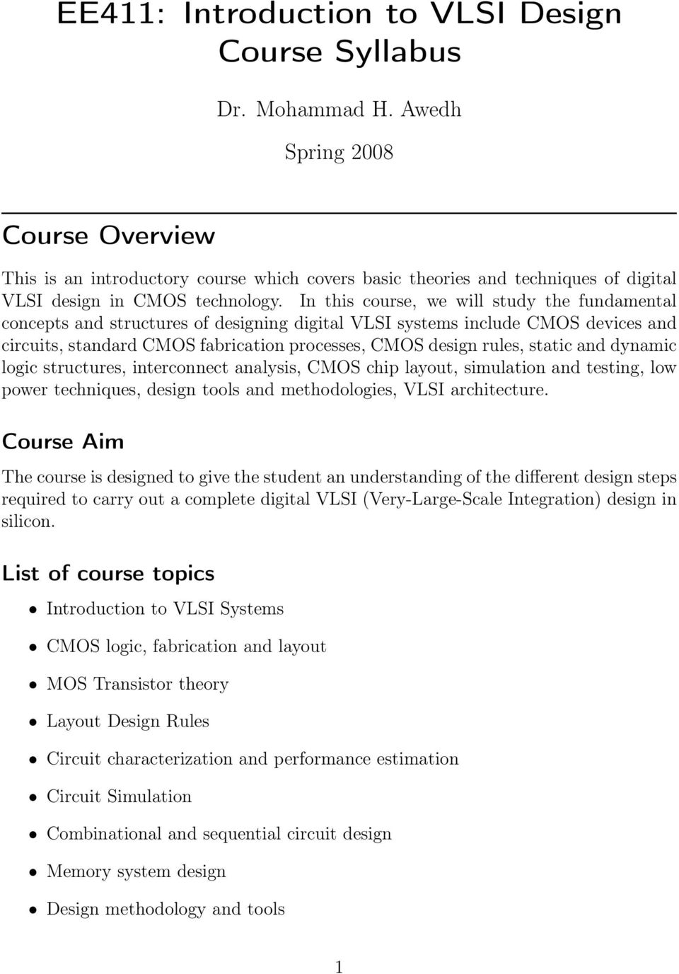 Ee411 Introduction To Vlsi Design Course Syllabus Pdf Electronic Circuit Static And Dynamic Logic Structures Interconnect Analysis Cmos Chip Layout Simulation Testing