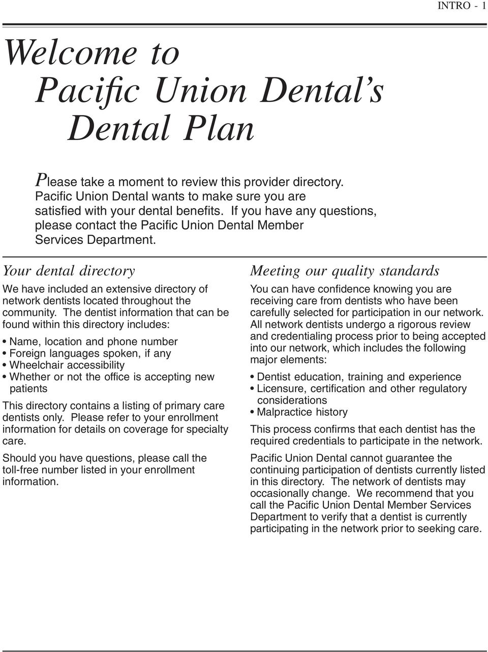 Pacific Union Dental Direct Compensation Network