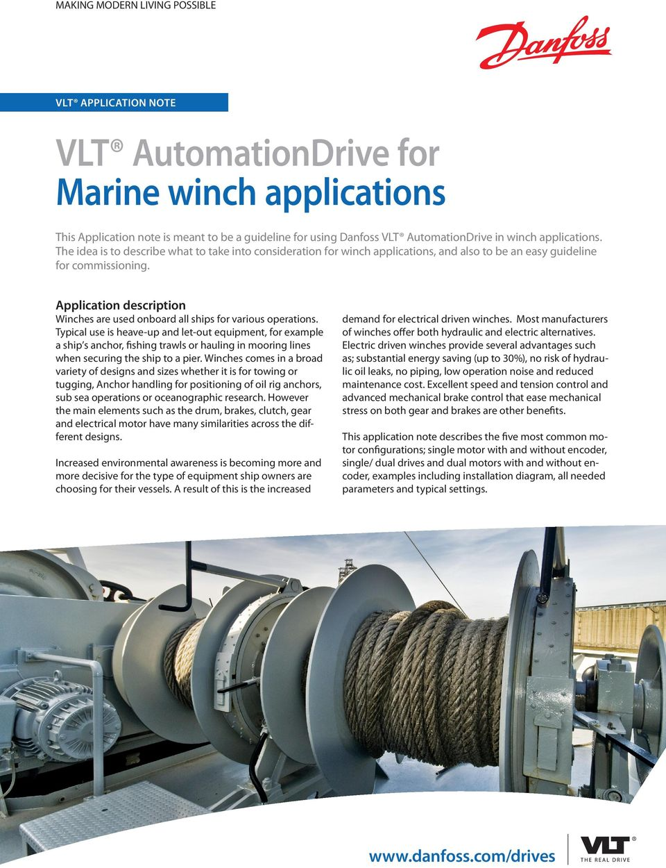 Vlt Automationdrive For Marine Winch Applications Pdf Automations Gt Motor Control Circuits Simple Ac Speed Application Description Winches Are Used Onboard All Ships Various Operations