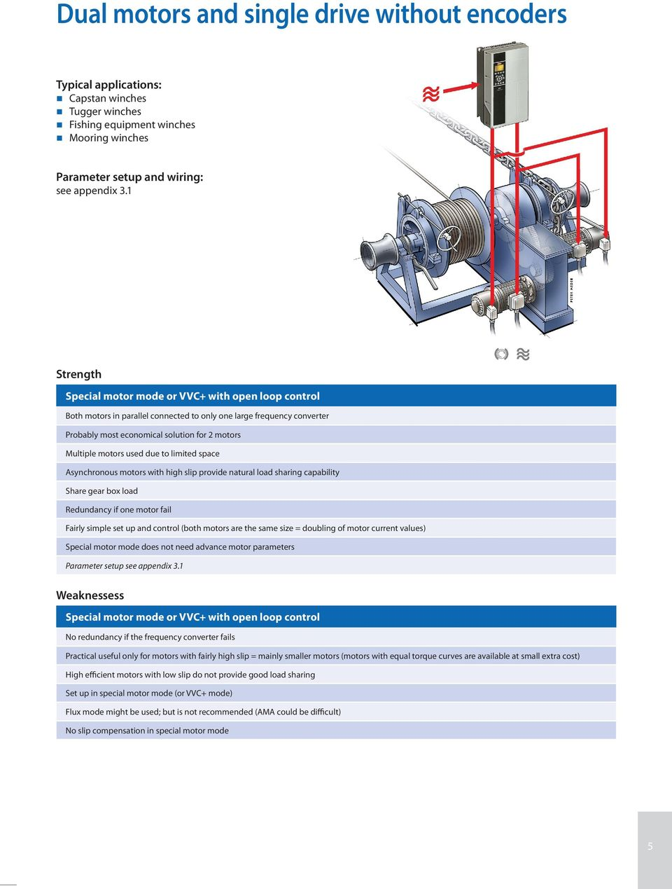 Vlt Automationdrive For Marine Winch Applications Pdf Multiple Motor Control Wiring Diagram Used Due To Limited Space Asynchronous Motors With High Slip Provide Natural Load Sharing Capability Share