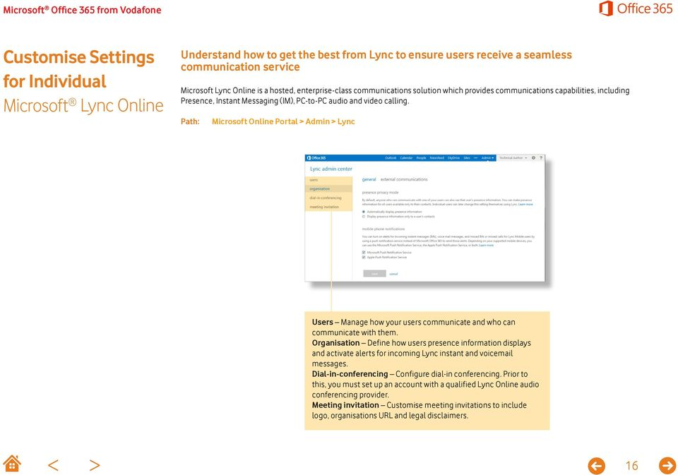 Microsoft Online Portal > Admin > Lync Users Manage how your users communicate and who can communicate with them.