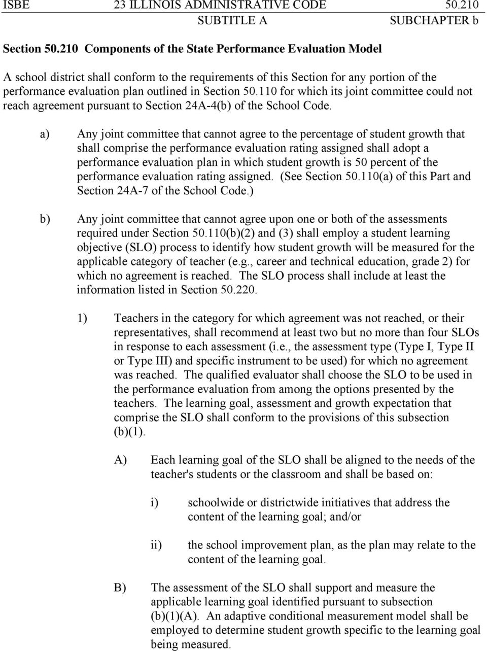110 for which its joint committee could not reach agreement pursuant to Section 24A-4(b) of the School Code.