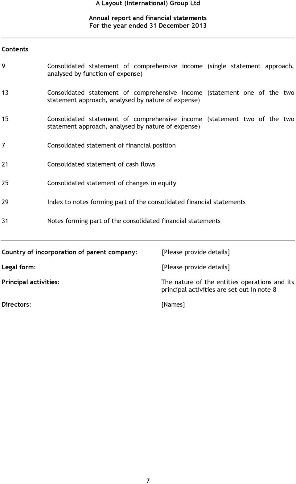 comprehensive income (statement two of the two statement approach, analysed by nature of expense) 7 Consolidated statement of financial position 21 Consolidated statement of cash flows 25