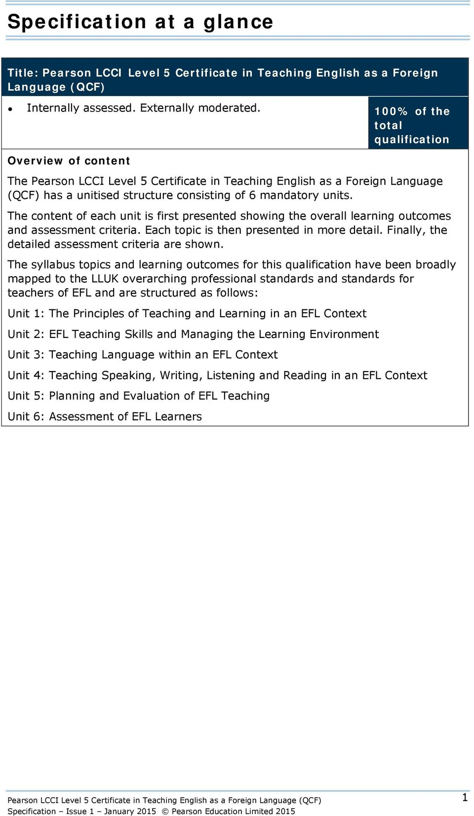 The content of each unit is first presented showing the overall learning  outcomes and assessment criteria