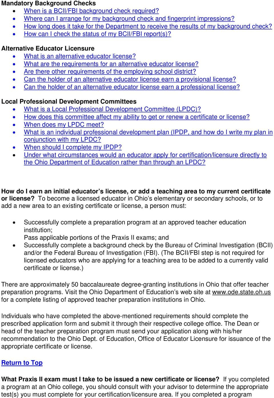 Frequently Asked Questions About Educator Licensure In Ohio Pdf