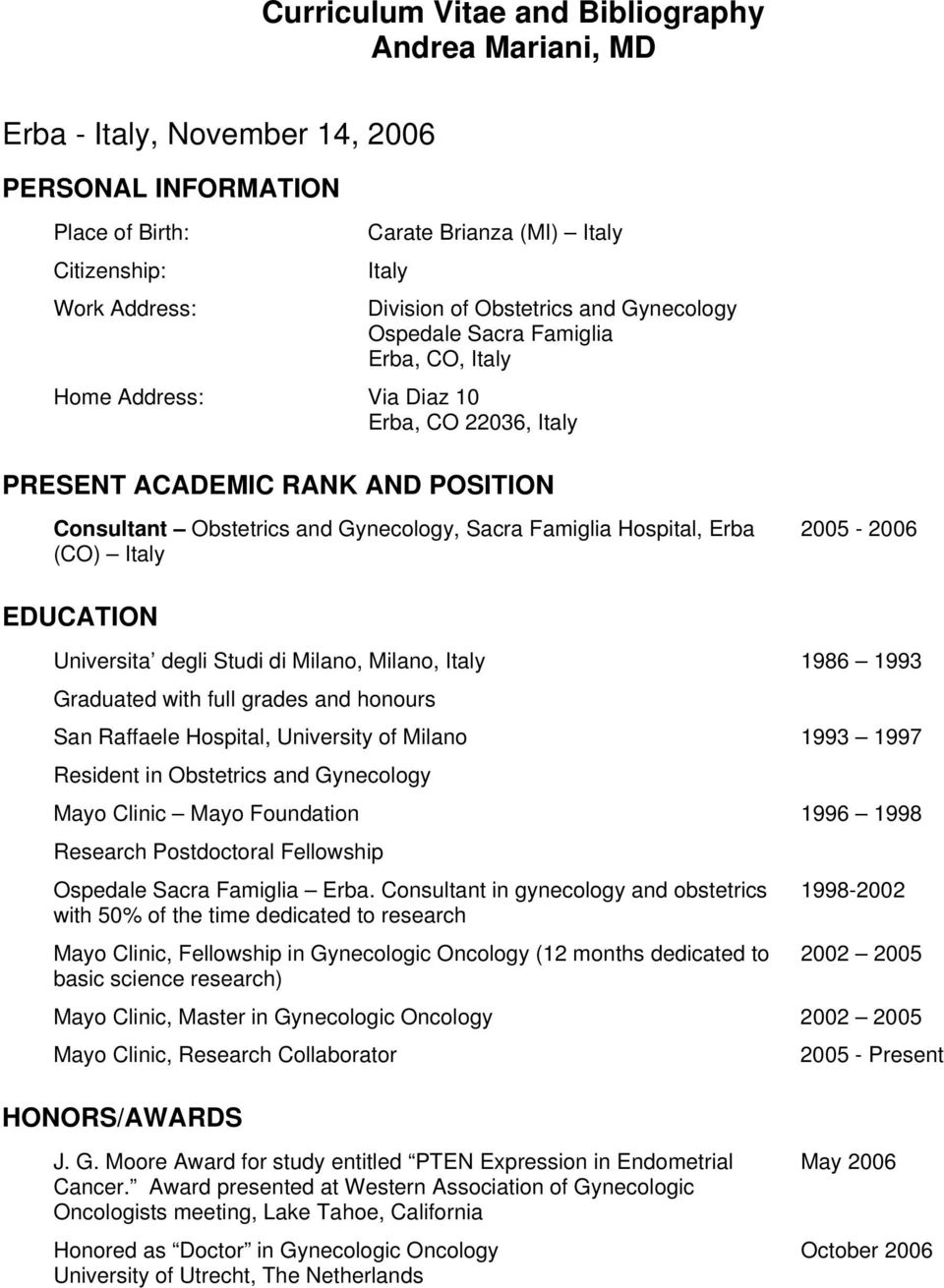 Curriculum Vitae and Bibliography Andrea Mariani, MD - PDF