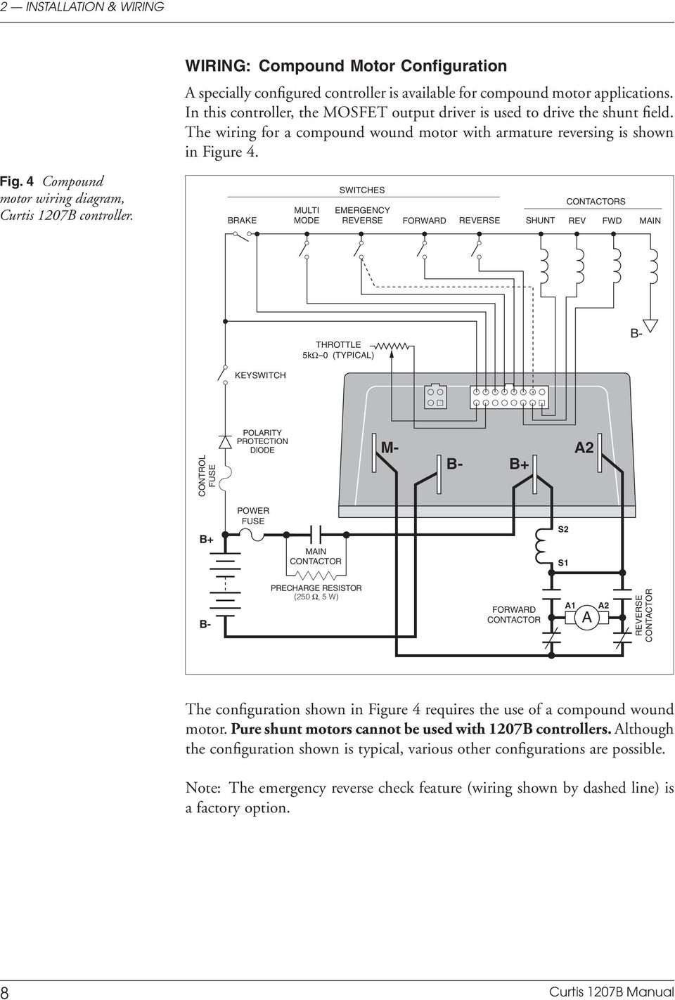 4 Compound motor wiring diagram, Curtis 1207B controller.