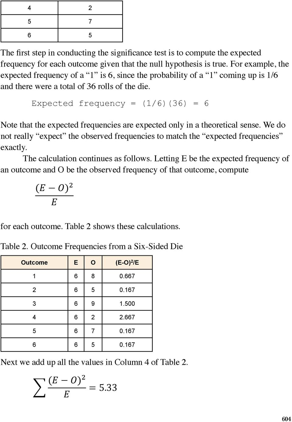 Expected frequency = (1/6)(36) = 6 ables Note that the expected frequencies are expected only in a theoretical sense.
