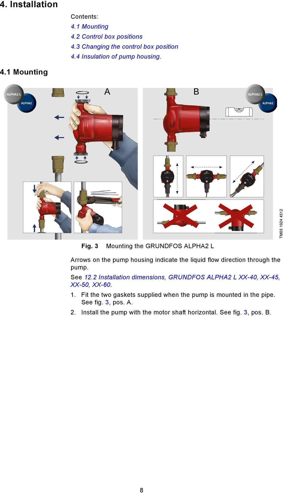 Grundfos Instructions Alpha2 L Installation And Operating 230v Wiring Diagrams 2 Dimensions Xx 40 45