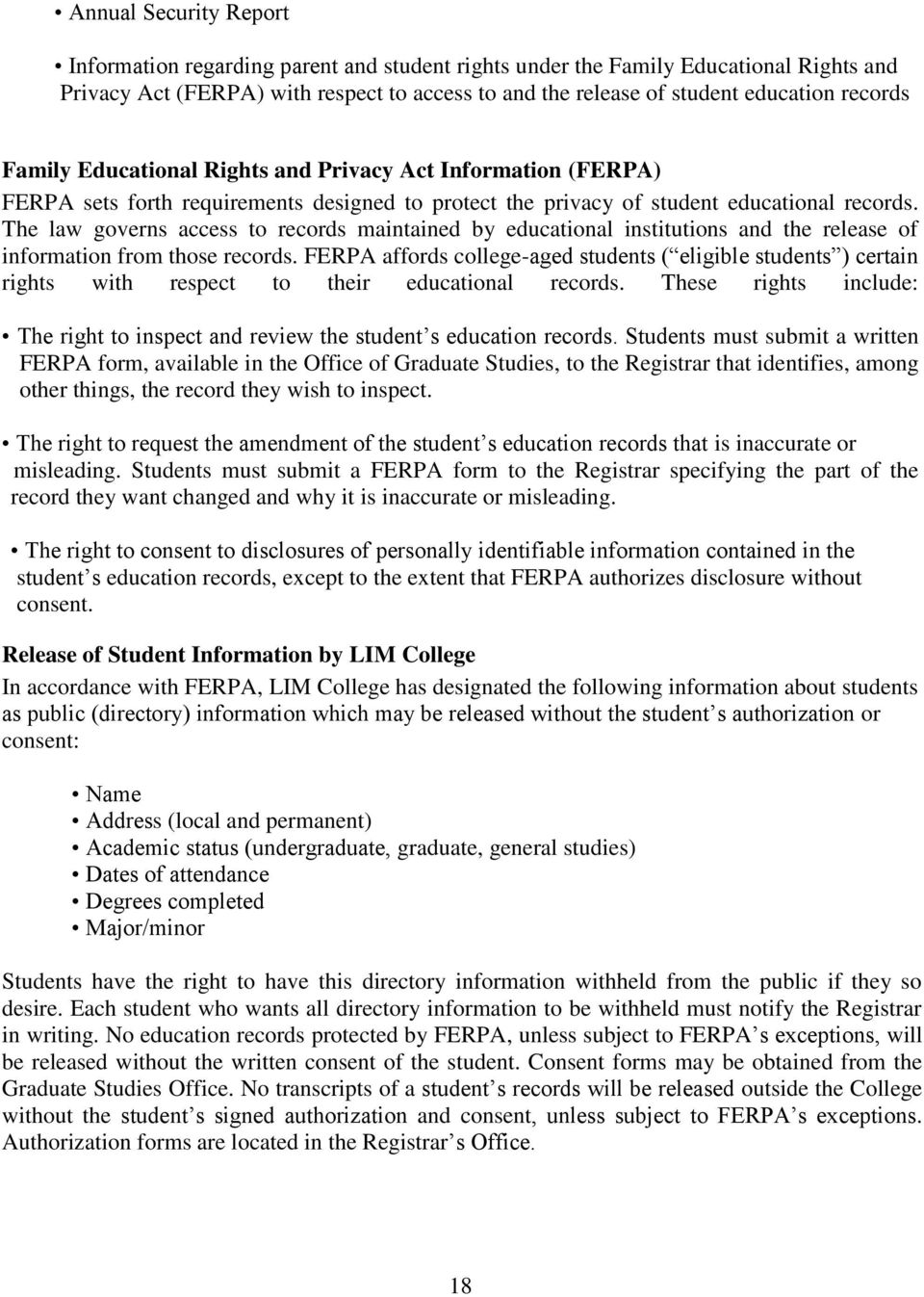 ferpa form queens college  Table of Contents The LIM College Graduate Studies Programs ...