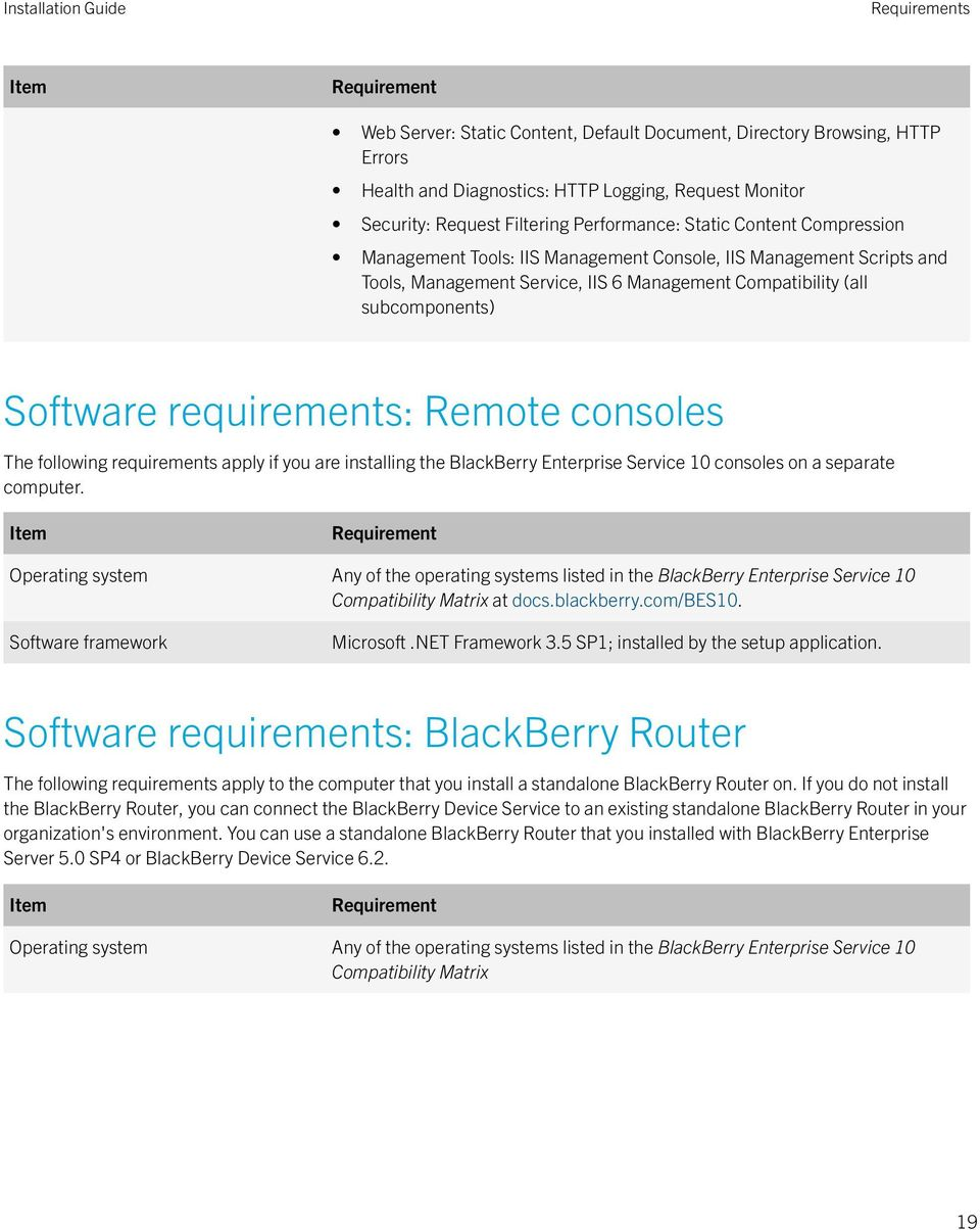 requirements: Remote consoles The following requirements apply if you are installing the BlackBerry Enterprise Service 10 consoles on a separate computer.