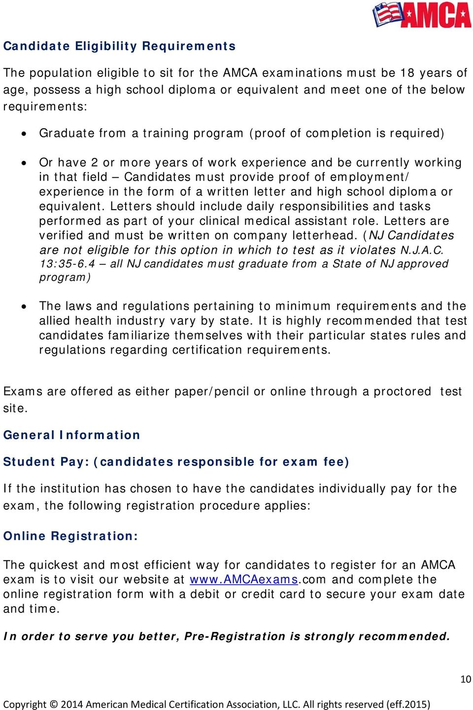 AMCA Candidate Handbook Clinical Medical Assistant Certification - PDF
