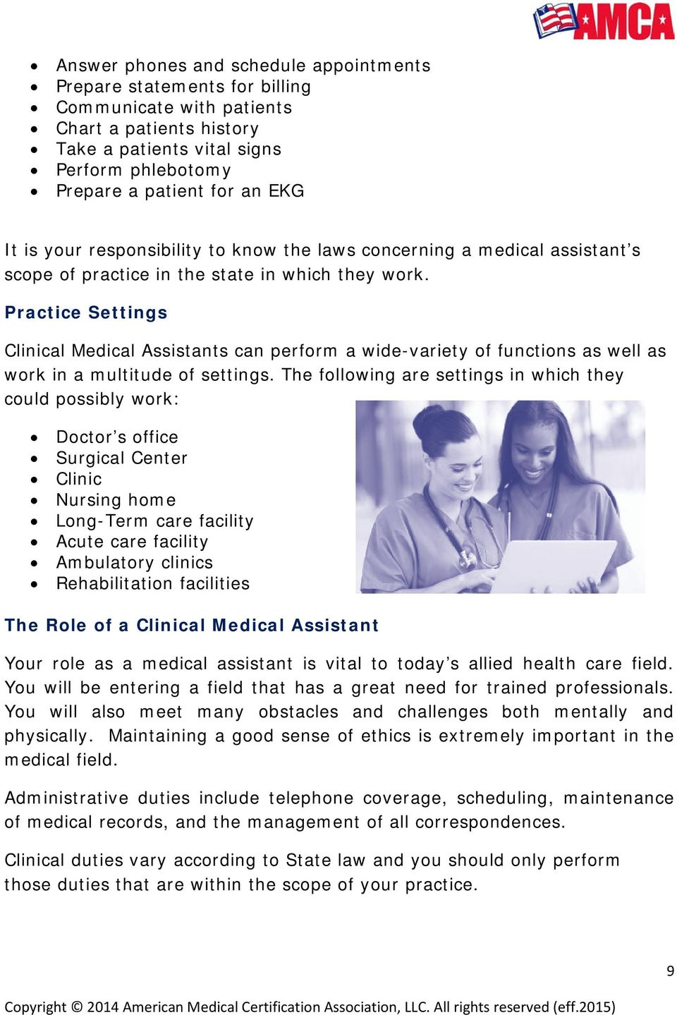 Amca Candidate Handbook Clinical Medical Assistant Certification Pdf