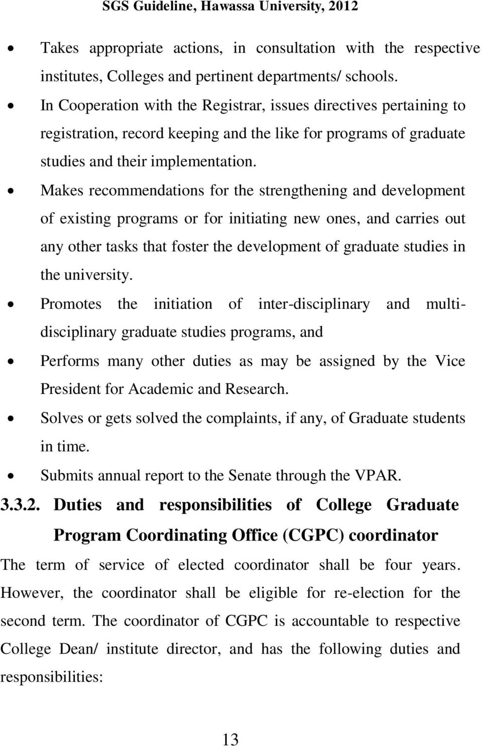 GENERAL POLICY GUIDELINES FOR GRADUATE STUDIES HAWASSA UNIVERSITY
