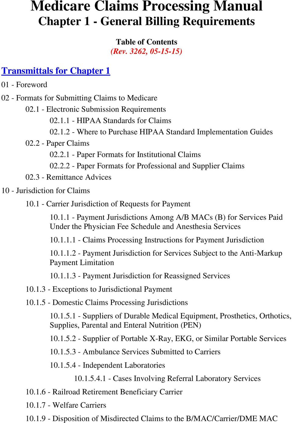 2 - Paper Claims 02.2.1 - Paper Formats for Institutional Claims 02.2.2