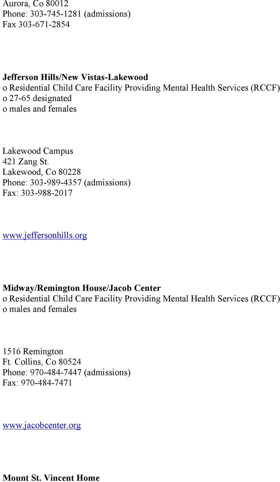 Residential Facilities Utilizing Mental Health Services For Children