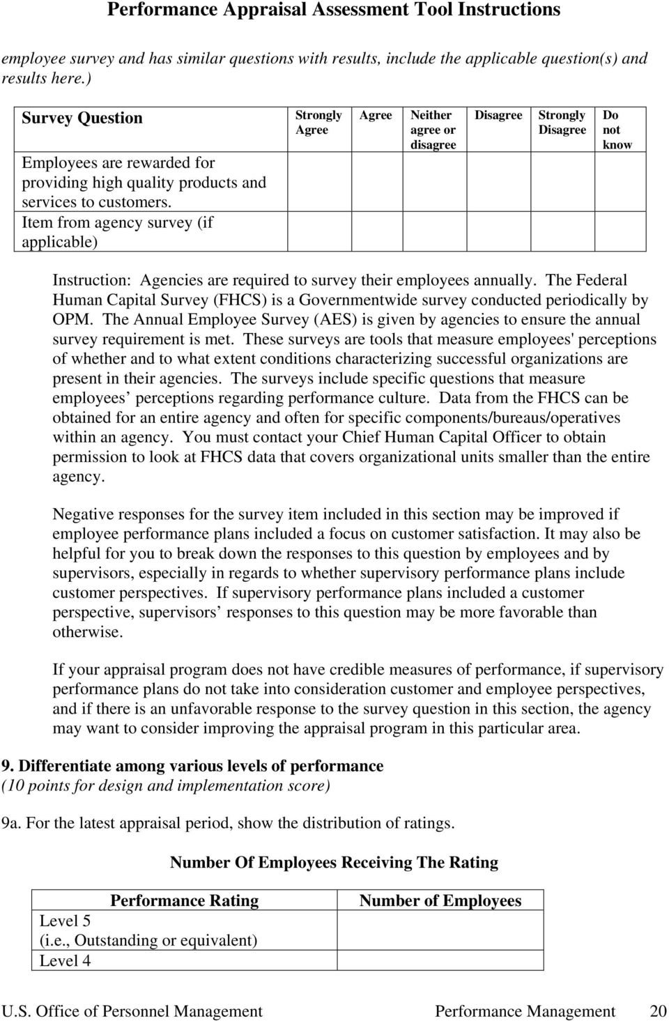 Performance Appraisal Assessment Tool Instructions Table of Contents ...