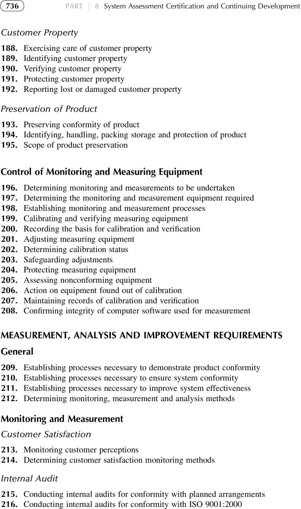 Identifying, handling, packing storage and protection of product 195. Scope of product preservation Control of Monitoring and Measuring Equipment 196.