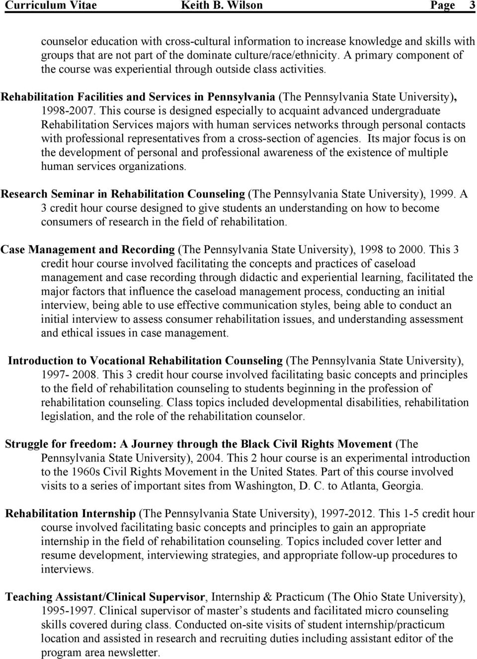 Cover Letter For Vocational Rehabilitation Counselor Keith B Wilson Curriculum Vitae Pdf