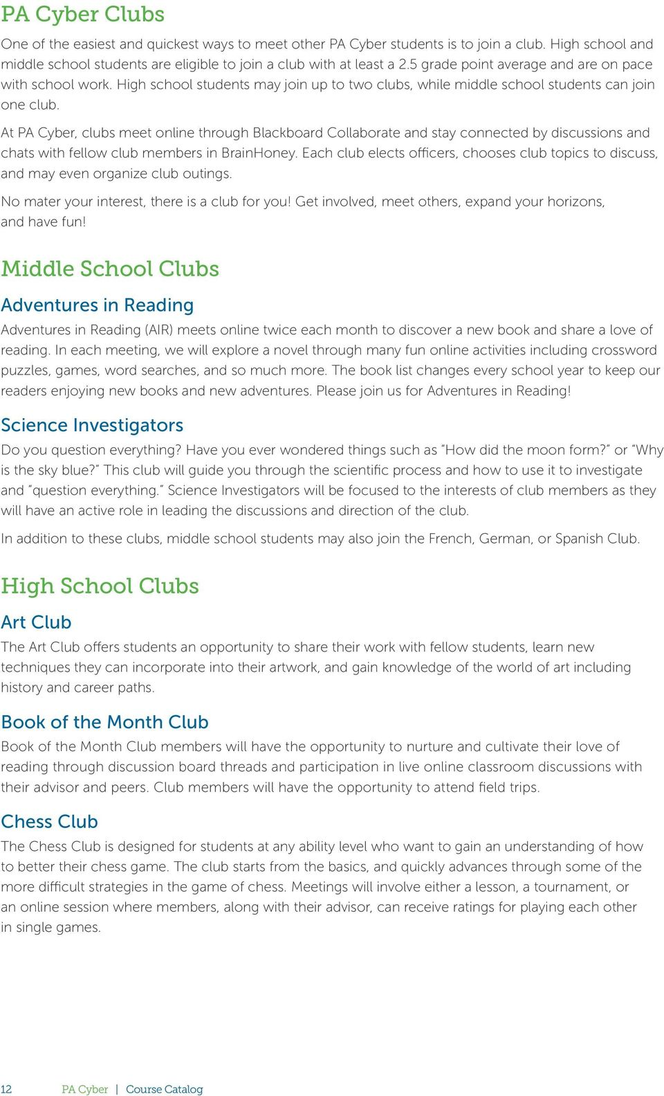 Course catalog pacyber pdf at pa cyber clubs meet online through blackboard collaborate and stay connected by discussions and fandeluxe Image collections