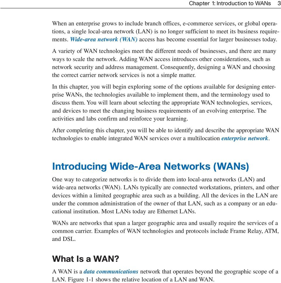 Introduction to WANs  Objectives  Key Terms CHAPTER 1 - PDF