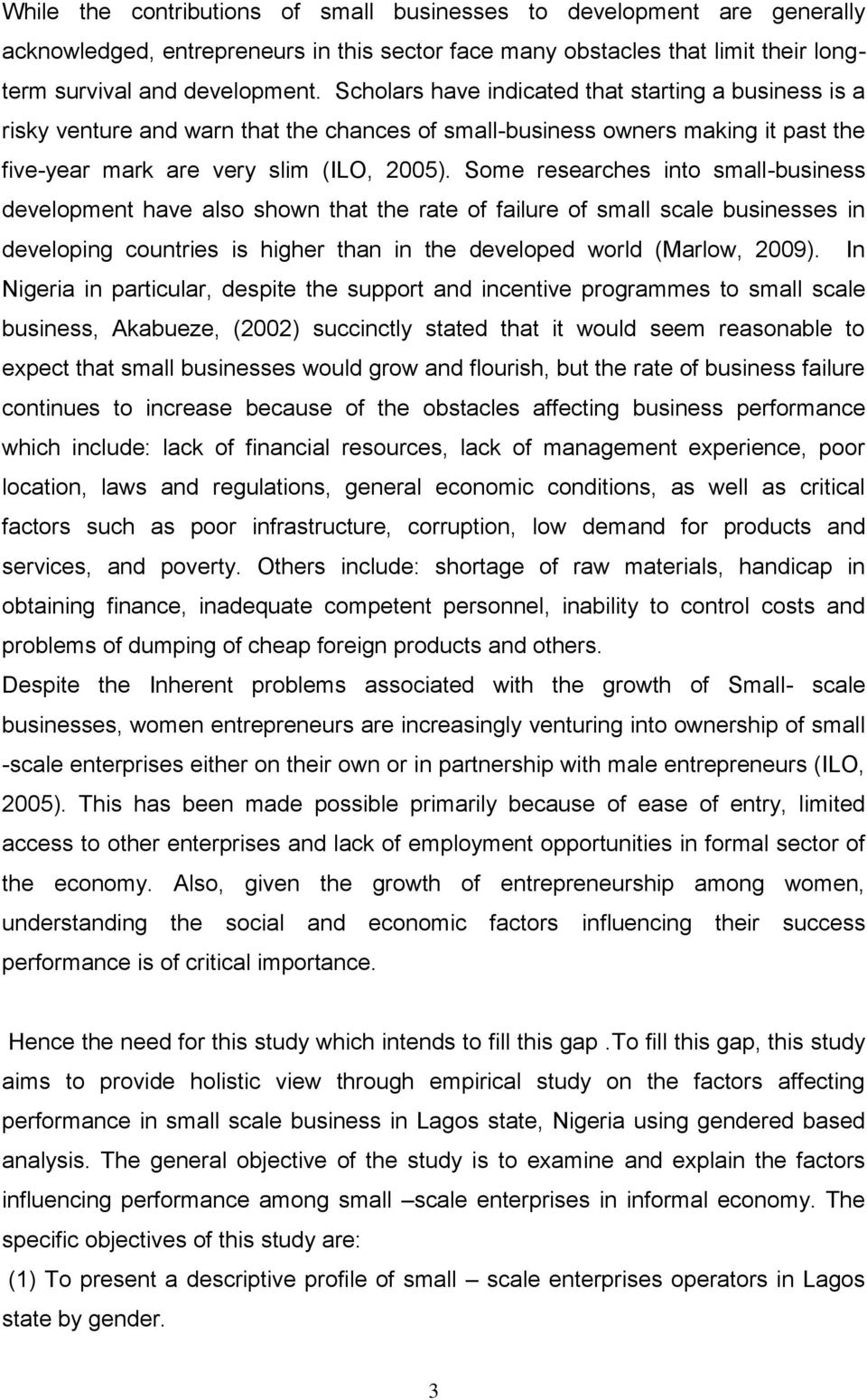 FACTORS AFFECTING SMALL-SCALE BUSINESS PERFORMANCE IN INFORMAL