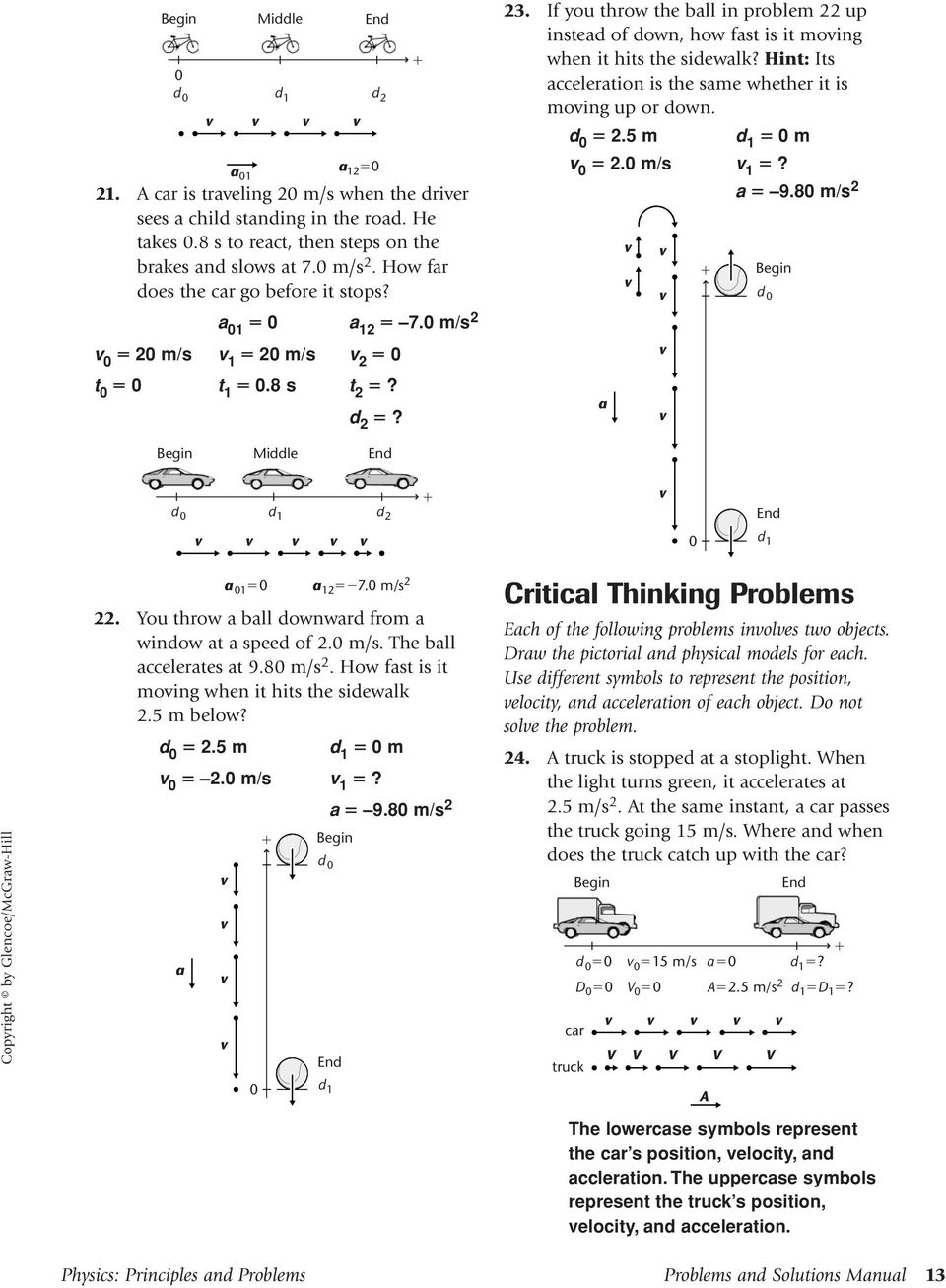 Physics: Principles and Problems Problems and Solutions Manual 13. If you  throw the ball in problem 22 up instead of down, how fast is