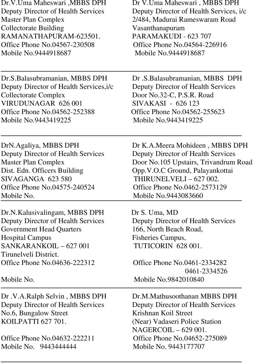 List of Deputy Directors of Health Services - PDF