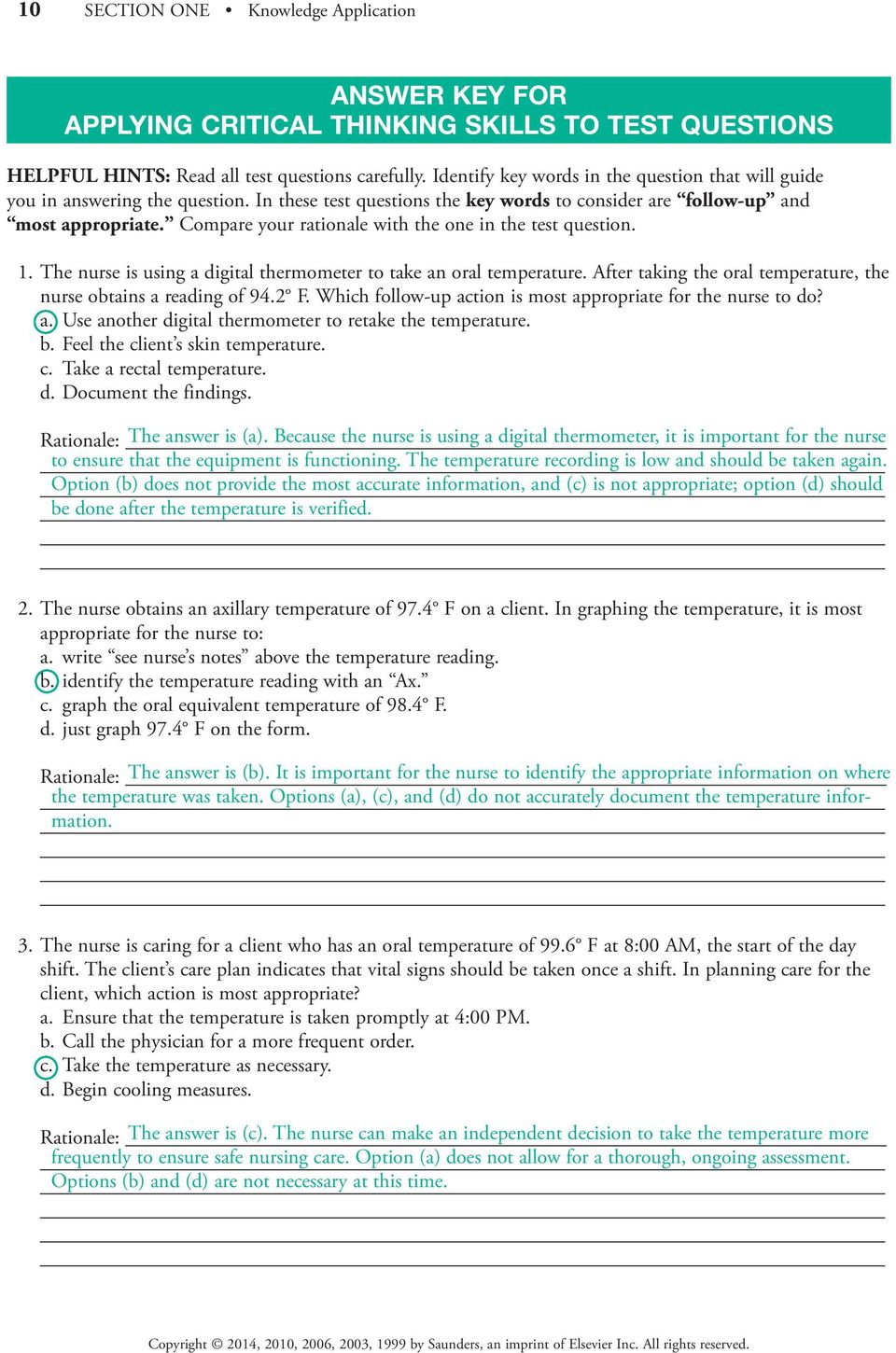 Section One One Knowledge Application Pdf