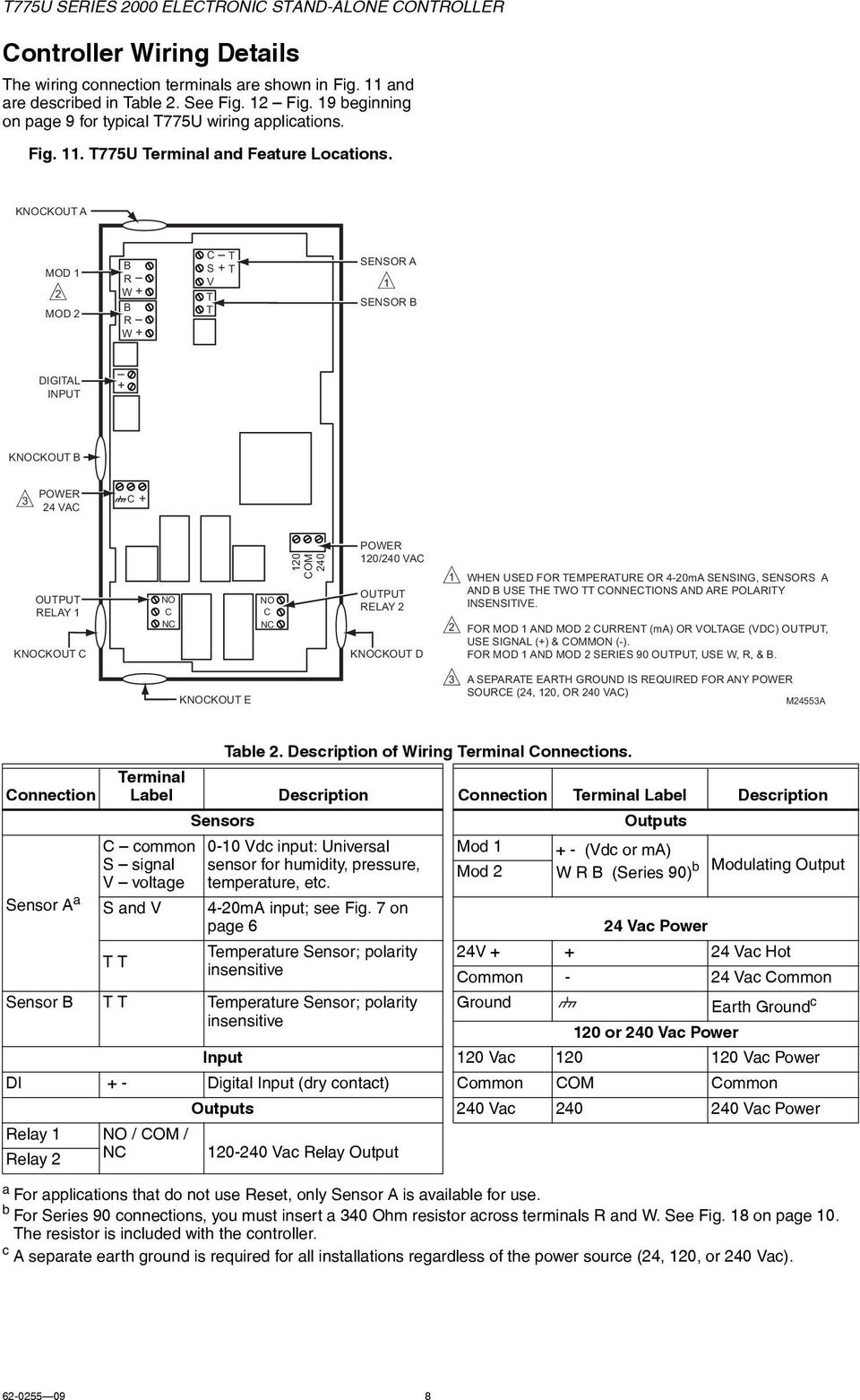 T775u Series 2000 Electronic Stand Alone Controller Pdf Fig 4 Rear Terminals Of A Midrange Kckout 2 Mod B R W C T S V 1 Sensor Digital 9 Wiring Application Examples Illustrate Typical For