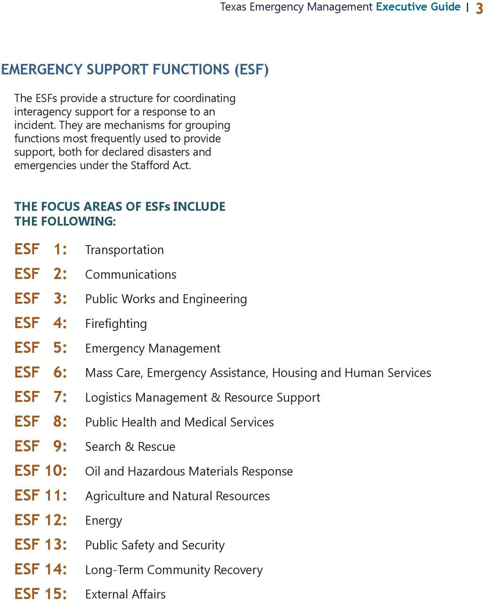 THE FOCUS AREAS OF ESFs INCLUDE THE FOLLOWING: ESF 1: ESF 2: ESF 3: ESF 4: ESF 5: ESF 6: ESF 7: ESF 8: ESF 9: ESF 10: ESF 11: ESF 12: ESF 13: ESF 14: ESF 15: Transportation Communications Public