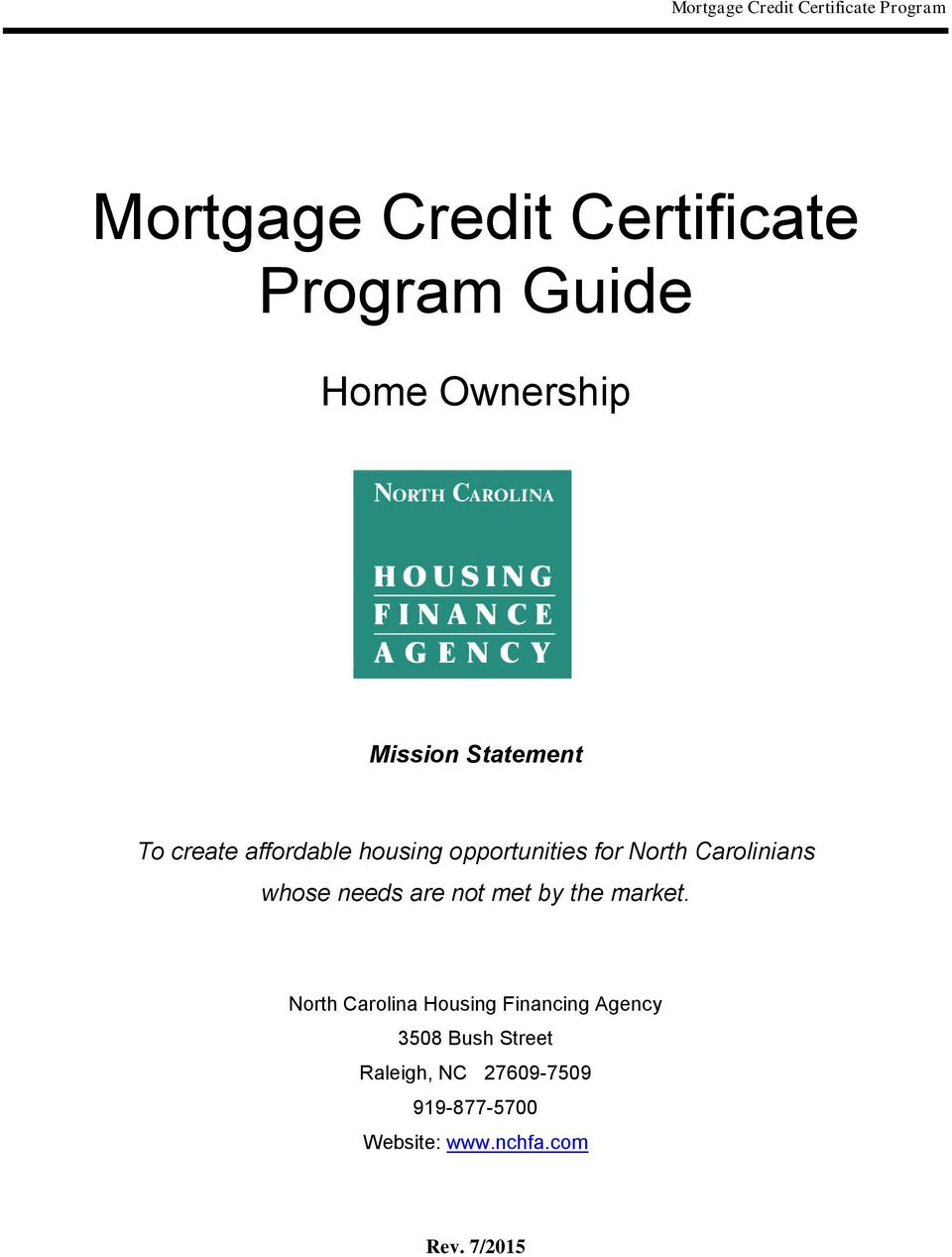 Mortgage Credit Certificate Program Guide Pdf