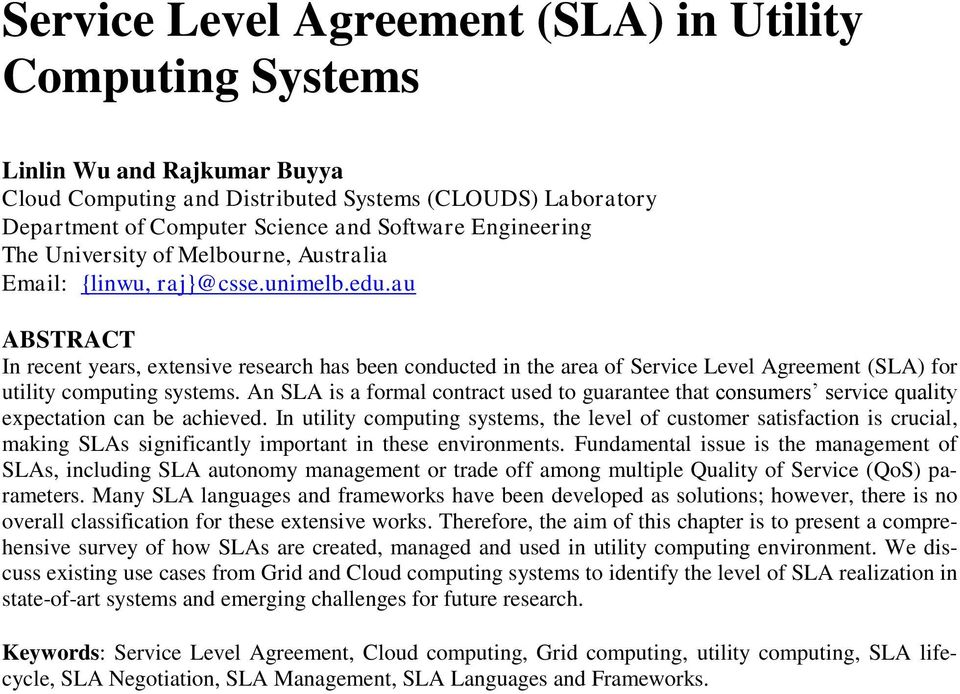 Service Level Agreement Sla In Utility Computing Systems Pdf