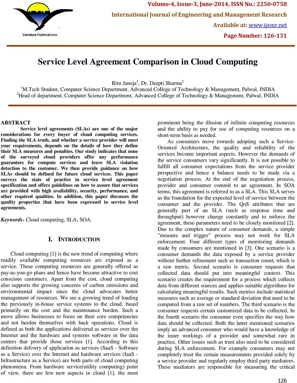 Service Level Agreement Comparison In Cloud Computing Pdf