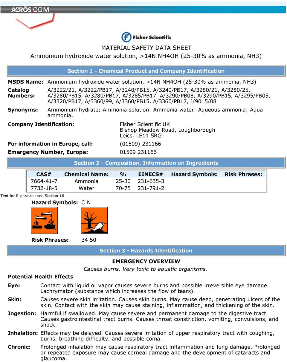 Material Safety Data Sheet Ammonium Hydroxide Water Solution 14n