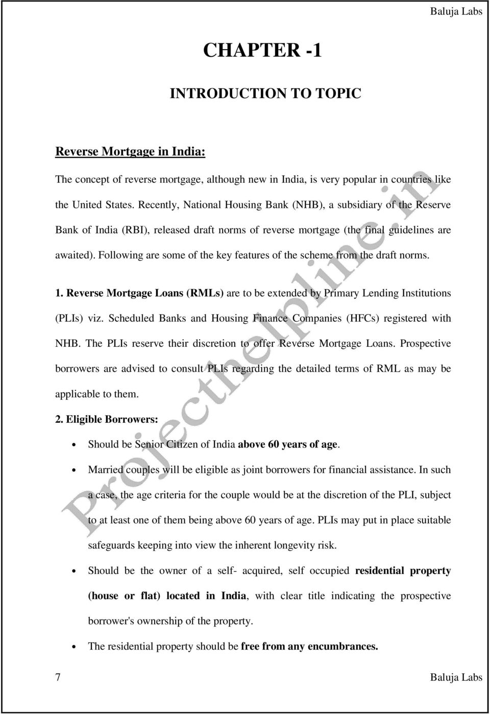 a study of reverse mortgage scheme in india - pdf