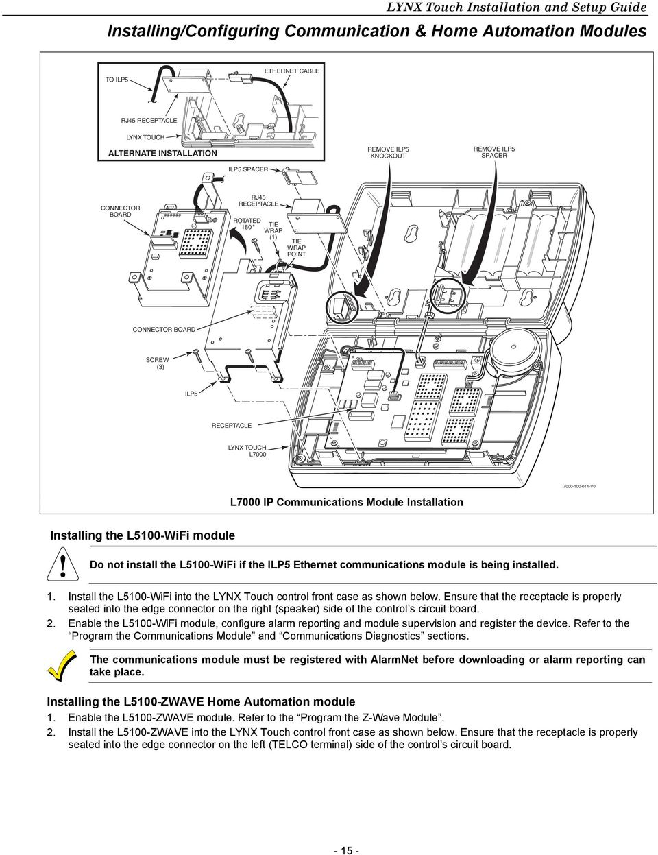 Lynx Touch L5200 L7000 Series Security Systems Pdf Automate Car Alarm Wiring Diagram L5100 Wifi Module Do Not Install The If Ilp5 Ethernet Communications