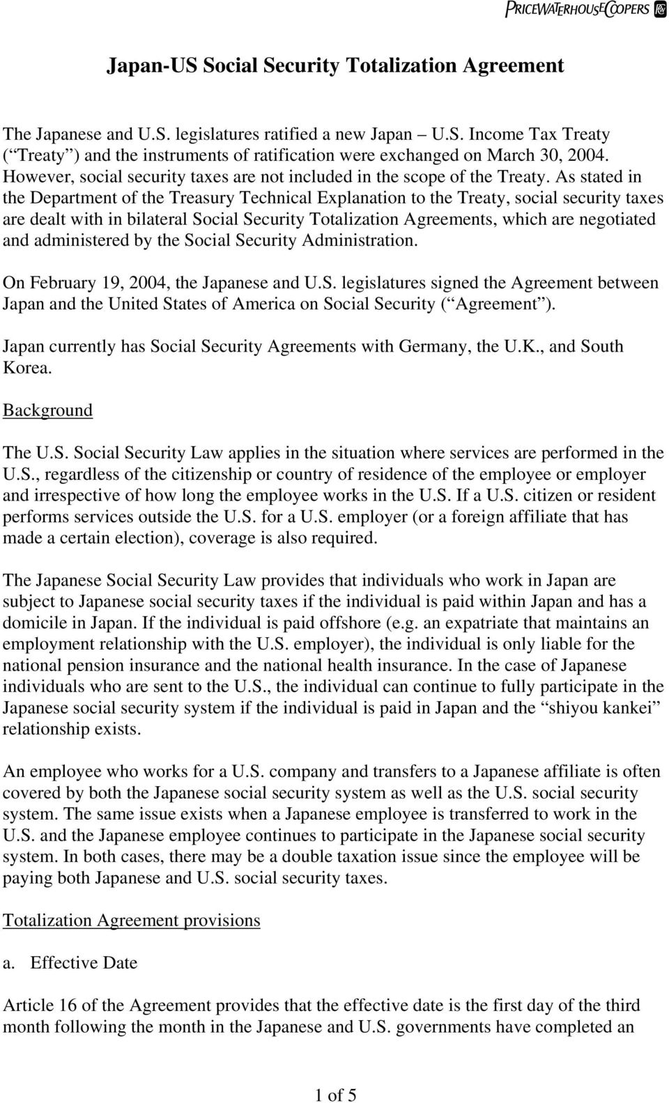 Japan Us Social Security Totalization Agreement Pdf