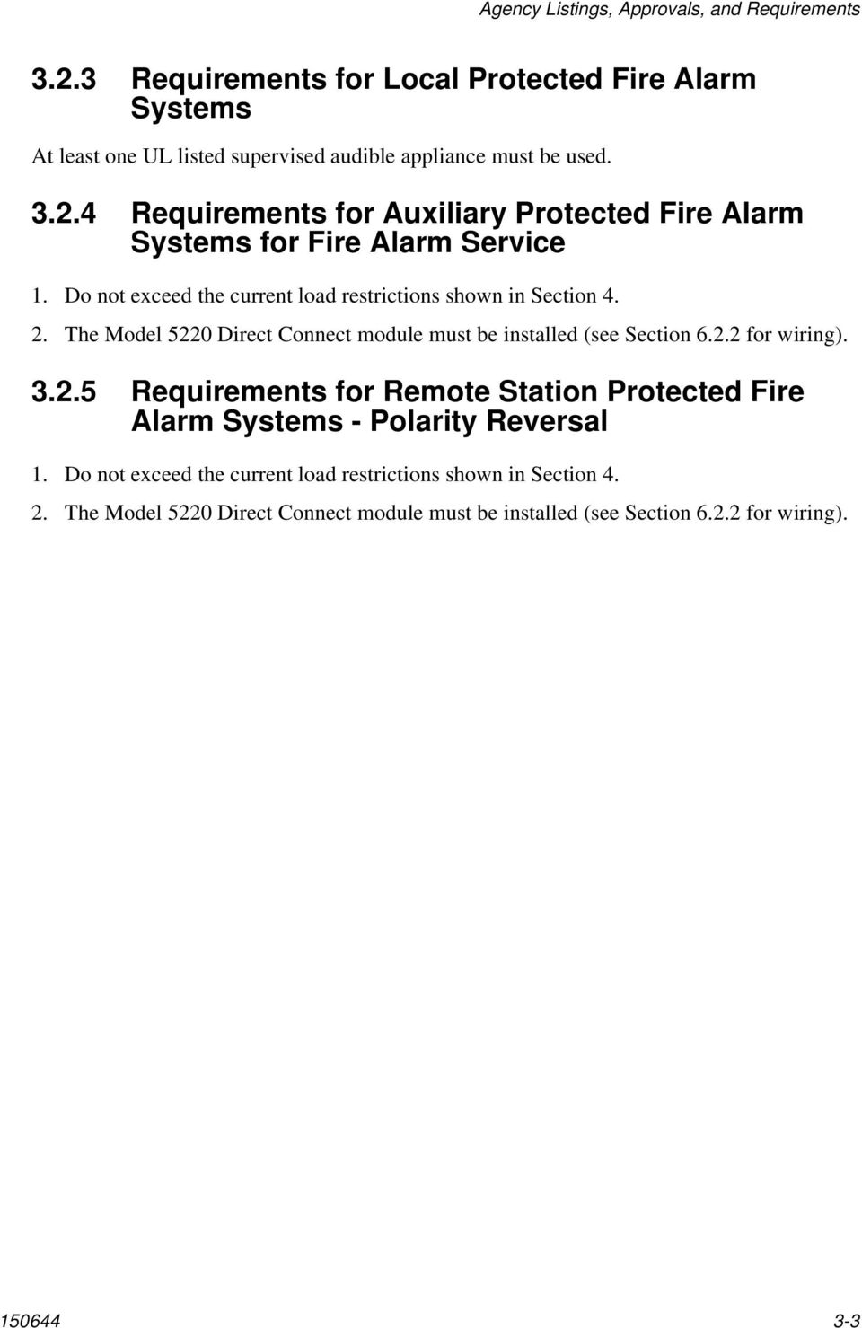 Model Installation And Operation Manual Fire Control Communicator Wiring Alarms 4 Requirements For Auxiliary Protected Alarm Systems Service 1 Do Not