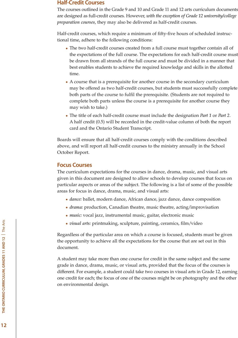 The Ontario Curriculum Grades 11 and 12  The Arts - PDF