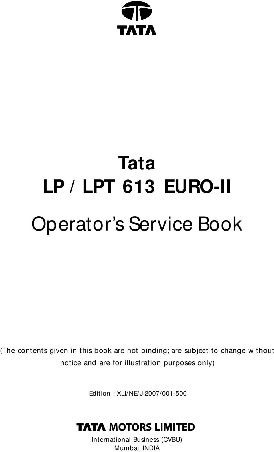 Tata 50 Cc Scooter Wiring Diagram Operator S Service Book Pdf Change Without Notice And Are For Illustration Purposes Only