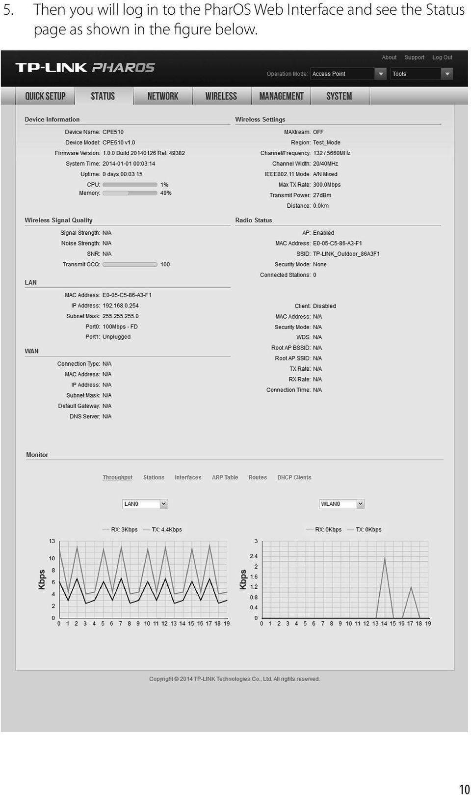 Outdoor Cpe Cpe210 Cpe220 Cpe510 Cpe520 Pdf Tplink Pharos And See The Status Page As
