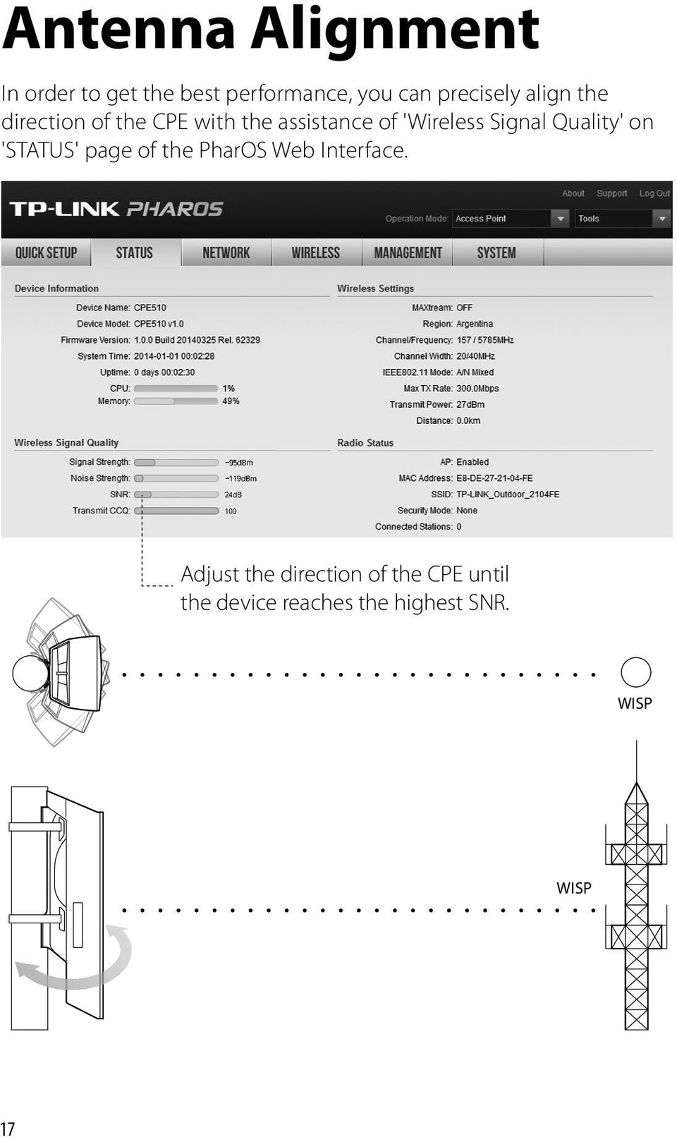 Outdoor Cpe Cpe210 Cpe220 Cpe510 Cpe520 Pdf Tplink Pharos Wireless Signal Quality On Status Page Of The Web Interface