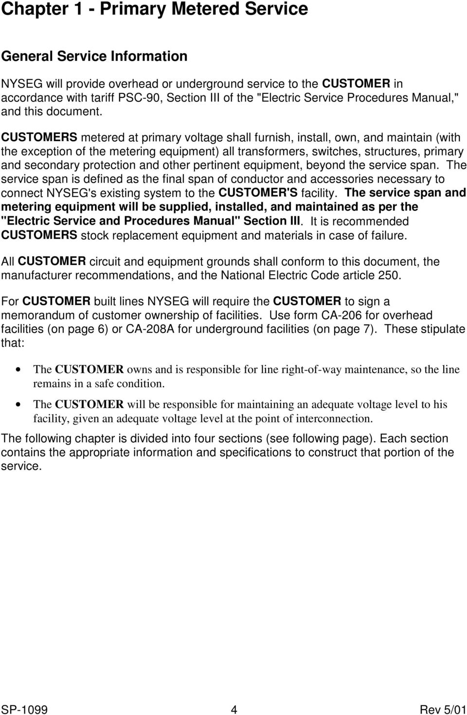 nyseg specification for electrical service