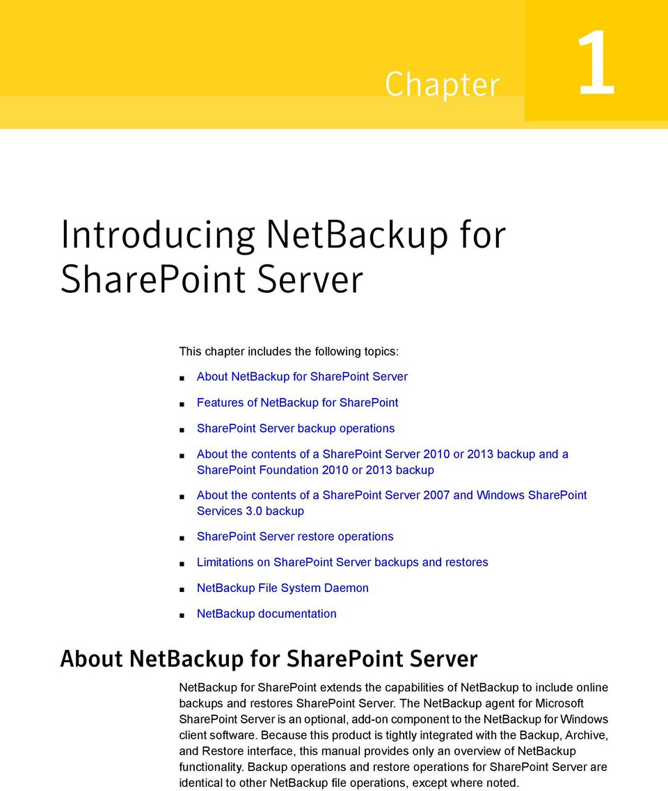 3.0 backup SharePoint Server restore operations Limitations on SharePoint Server backups and restores NetBackup File System Daemon NetBackup documentation About NetBackup for SharePoint Server