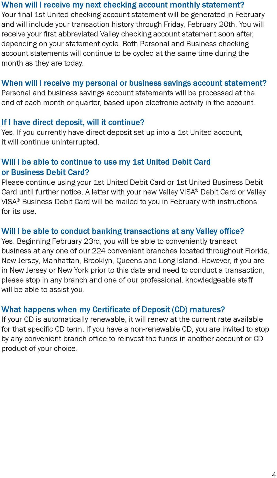 Welcome To Valley National Bank Answers To Important Questions