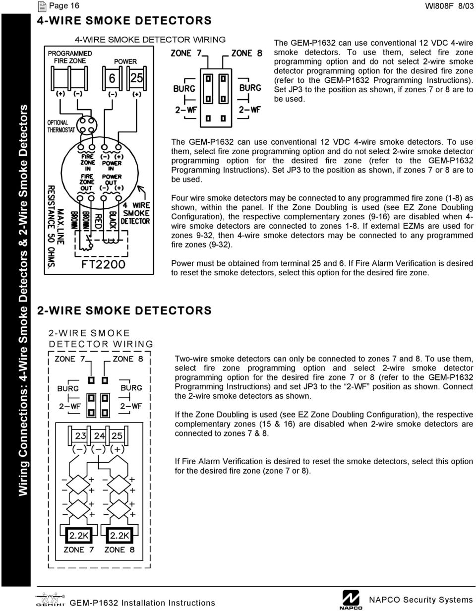 Gem P1632 Control Panel Communicator Pdf 2wire Smoke Detector Wiring To Use Them Select Fire Zone Programming Option And Do Not 2 Wire