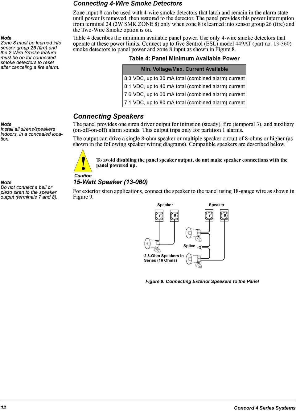 Concord 4 Series Security Systems Pdf Speaker Wiring Connecting Wire Smoke Detectors Zone Input 8 Can Be Used With